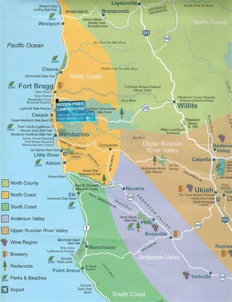 cgrounds in california map pines rv park cground fort bragg california