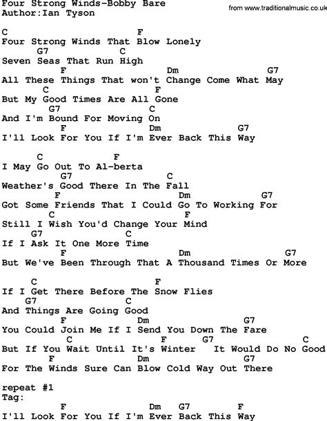 bobby bare four strong winds country four strong winds bobby bare lyrics and chords
