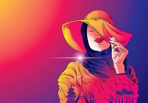 mujer hijab traveler vector   vectors