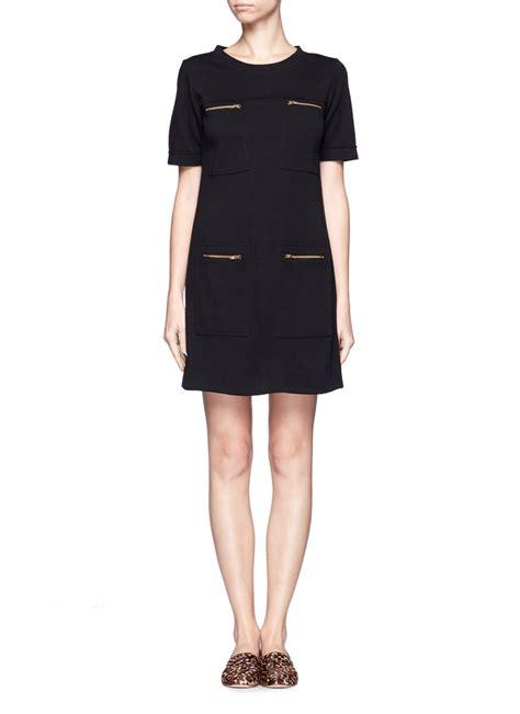 Pocket Dresses by Lyst J Crew Ponte Zip Pocket Dress In Black