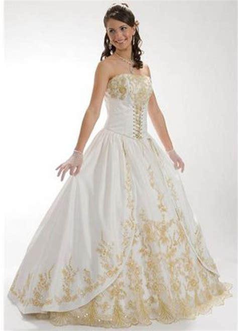 marnes blog beautiful white  gold wedding dresses