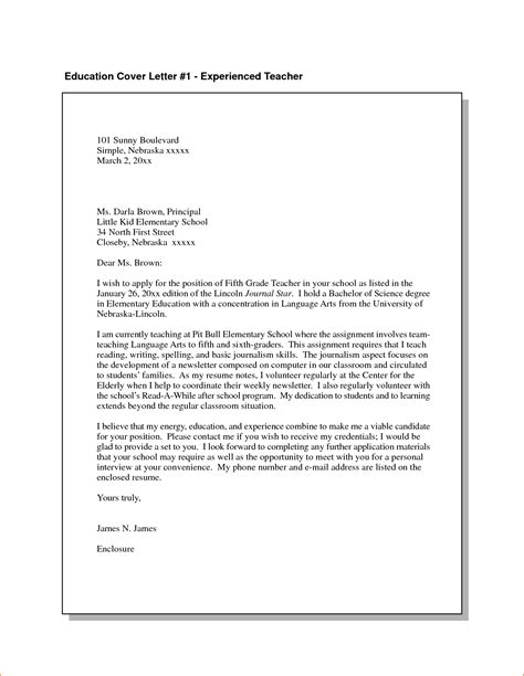 Cover Letter Format Teaching simple application letter format