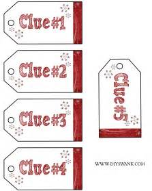 Clue Card Template by Santa Gift Scavenger Hunt Free Printables Diy Swank