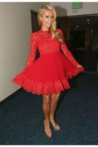elegant high neck short red chiffon lace sleeve paris