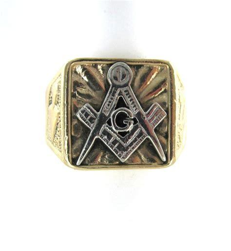 14kt white yellow gold freemason masonic symbol ring