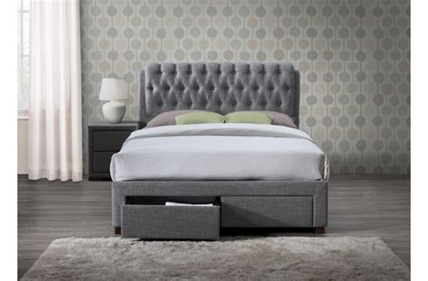 Grey Storage Bed Birlea Valentino 4ft6 2 Drawer Storage Bed Frame In