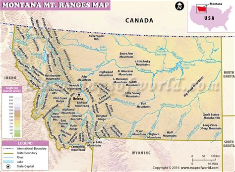 usa montana map montana mountain ranges map list of mountains in montana