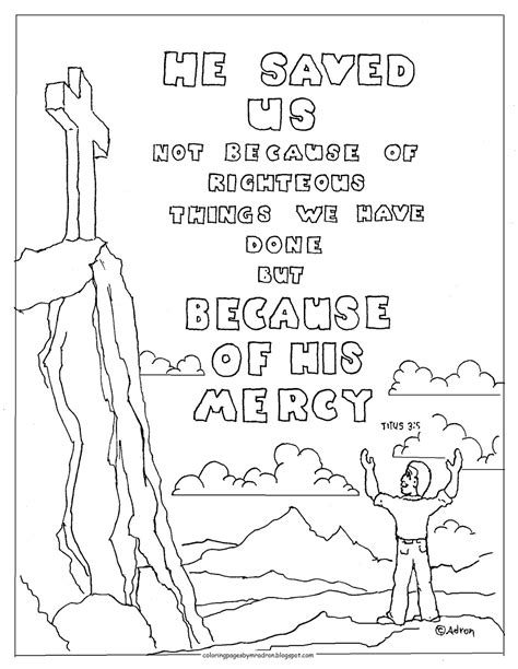Coloring Pages for Kids by Mr. Adron: Titus 3:5 Printable