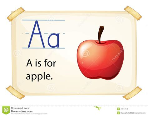 a letter a for apple stock vector image 47574149