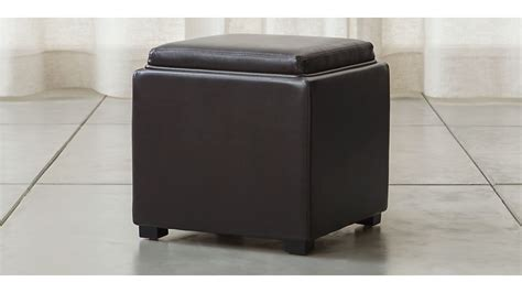 chocolate storage ottoman stow chocolate 17 quot leather storage ottoman crate and barrel