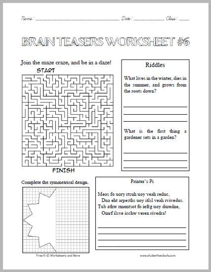 printable brain quest worksheets 25 best ideas about printable brain teasers on pinterest