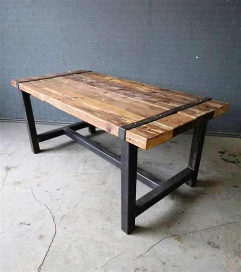 Medieval Reclaimed Timber And Industrial Chic On Pinterest Steel Wood Dining Table