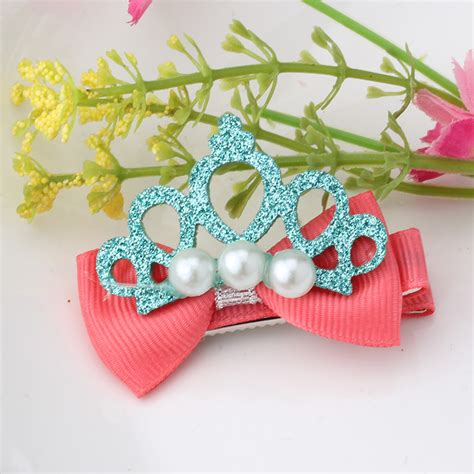 shiny hair accessories children baby beautiful new design shiny pearl crown hair clip hair