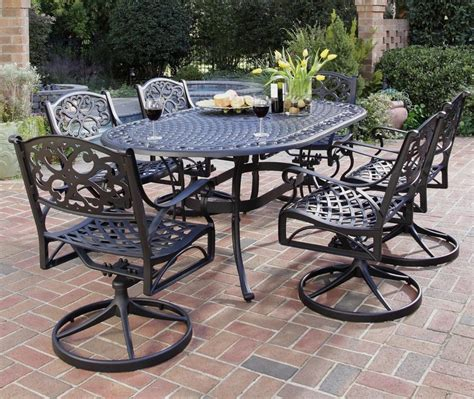 biscayne cast aluminum patio furniture home styles biscayne 7 outdoor dining set with
