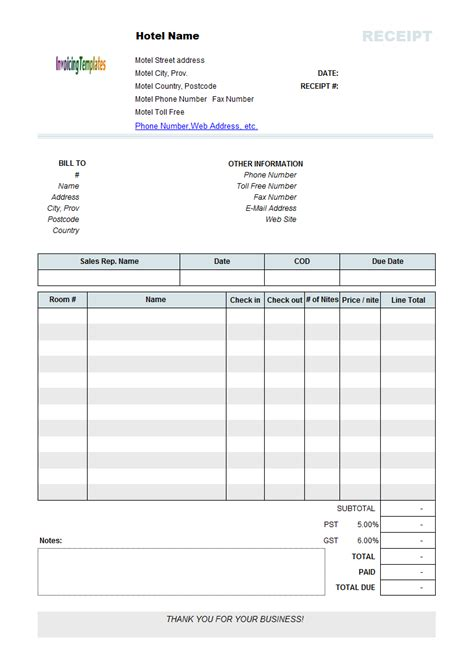 lodging receipt template printed hotel receipt template recipes to cook