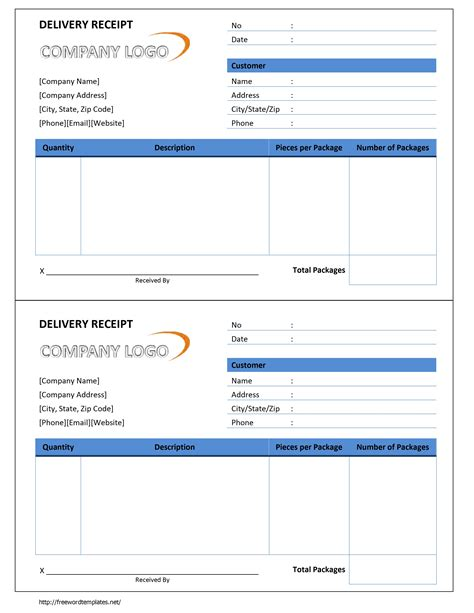 Receipt Template Word by Delivery Receipt Template Free Microsoft Word Templates