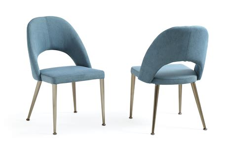 Dining Chair Blue Gloria Modern Blue Antique Brass Dining Chair Set Of 2