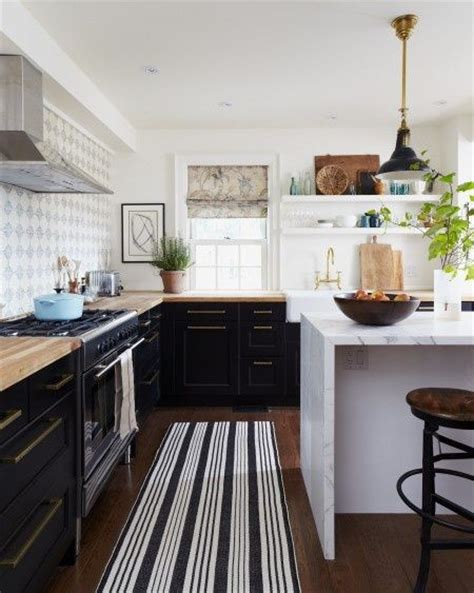 white ikea kitchen black counters dream pinterest striped rug open shelving cool wallpaper patterned