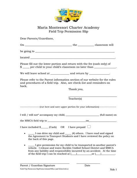 Permission Letter In School 8 best images about field trip slip on
