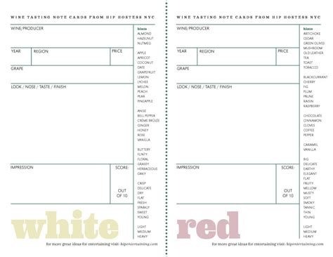 Wine Tasting Sheet Template by Hip Hostess Nyc How To Host A Wine Tasting