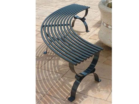 curved metal bench positano backless bench by lazzari