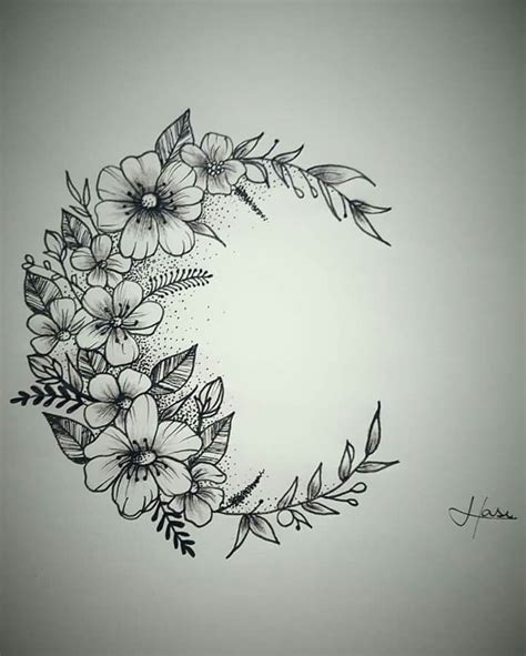 moon flower tattoo design moon flower tatuagem lua flores