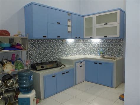 kitchen set minimalis multiplek hpl warna biru furniture