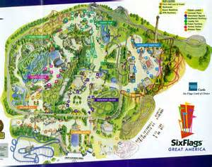 Six Flags Great America Map by Theme Park Brochures Six Flags Great America Theme Park