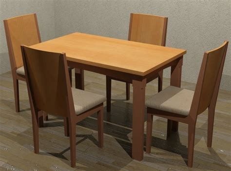 wood dining table 75x120 cm 4 chairs in 3d studio max