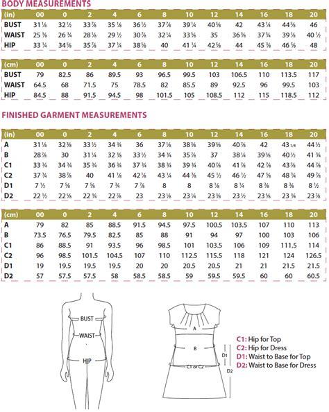 dress pattern size chart kathryn top dress pdf sewing pattern women s supply
