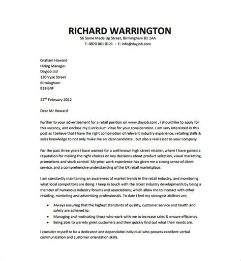 job cover letter template word documents