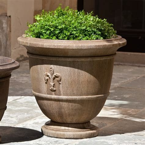 Planters Outdoor Large by Cania International Fleur De Lis Large Cast Urn