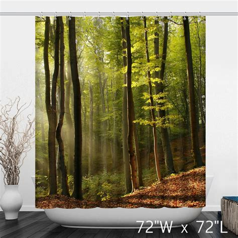 Shower Curtains With Trees Original Forest Woods Trees Landscape Shower Curtain Custom Shower Curtain