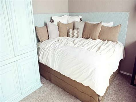 headboard ideas for small bedrooms saving small bedroom spaces with diy corner bed with custom headboard ideas