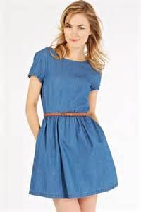 blue denim round neck short sleeve casual dress casual