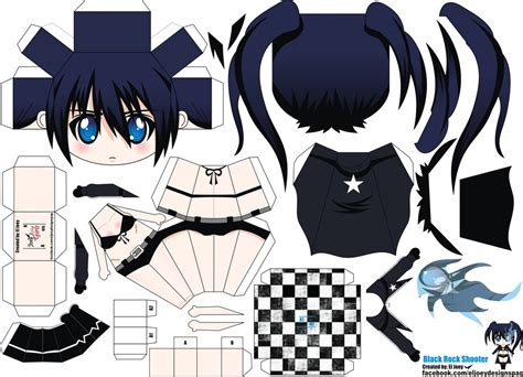 Paper Crafts Anime - black rock shooter papercraft by eljoeydesigns on
