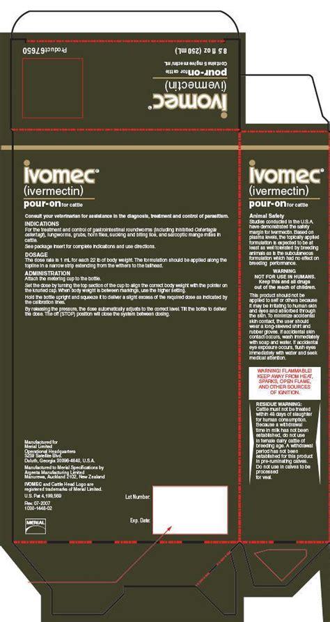ivomec pour  fda prescribing information side effects