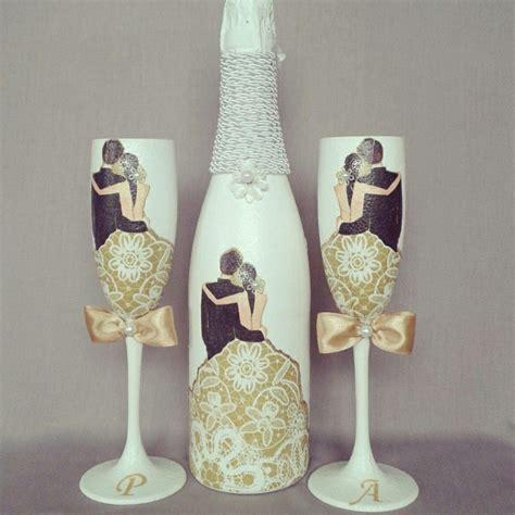 botellas de sidra decoradas para el novio imagenes con diamantina mas copas para boda y botellas decoradas 3 200 00