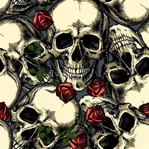 imagenes de calaveras rojas patr 243 n de calaveras con rosas vector de stock 127479672