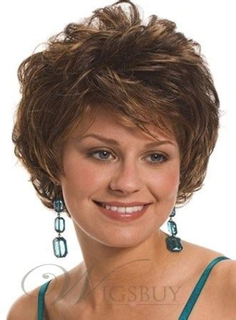 curly stacked bob haircut with bangs graceful short curly capless synthetic hair wigs