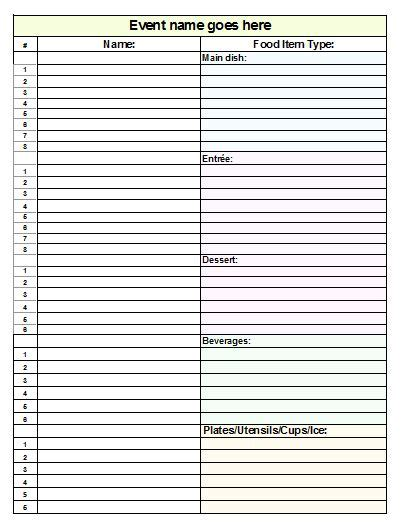 Potluck Spreadsheet Template by Potluck Sign Up Sheet Template For Excel