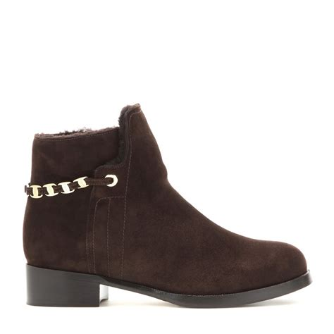 ferragamo nandino shearling lined suede ankle boots in