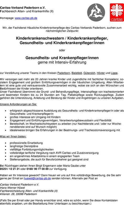 Bewerbungsschreiben Praktikum Gesundheits Und Kinderkrankenpflegerin Stellenangebot Gesundheits Und Kinderkrankenpfleger M W In Paderborn