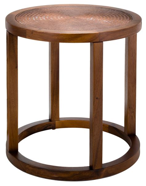 copper accent table contemporary wood copper round accent table safavieh