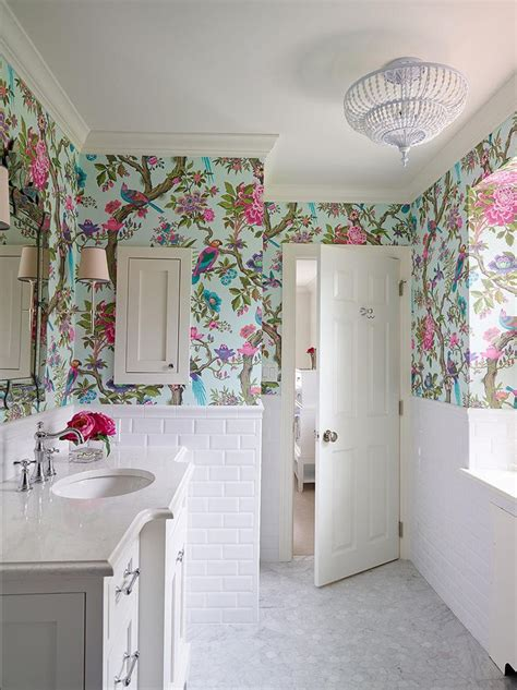 wallpapered bathrooms ideas 25 best bathroom wallpaper ideas on half