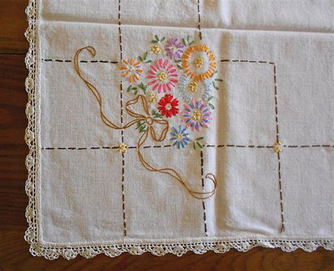 vintage embroidered linen tablecloth with crochet