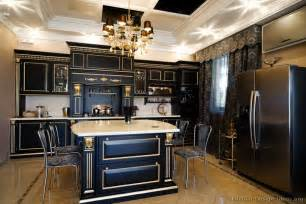 awesome Kitchen With Two Color Cabinets #3: kitchen-cabinets-traditional-two-tone-026a-s14146642-black-gold-highlight-island-luxury.jpg