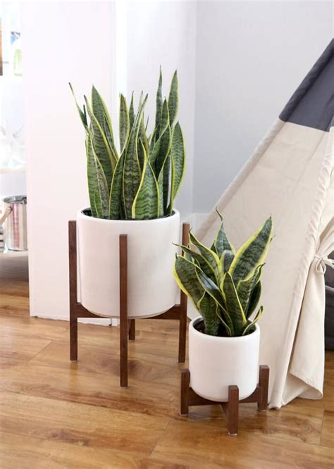 large mid century modern planter  wood plant stand