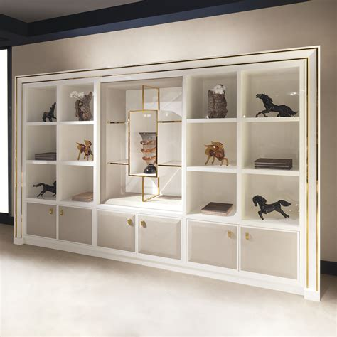wall unit storage high end modern italian ivory shelving wall unit