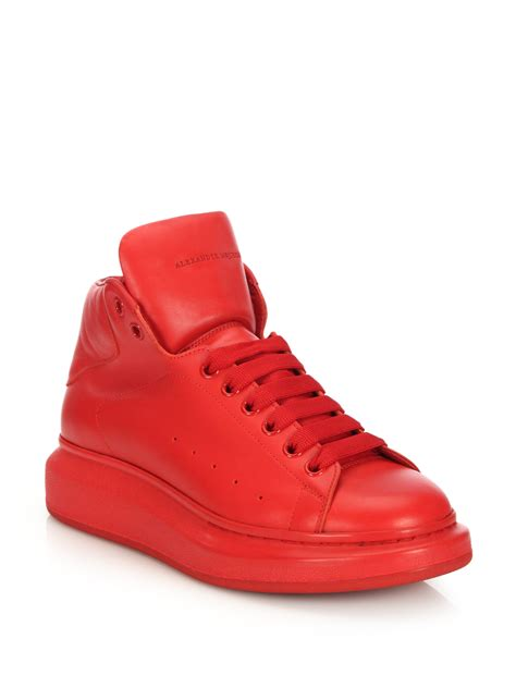 mcqueen sneakers mcqueen leather high top sneakers in lyst